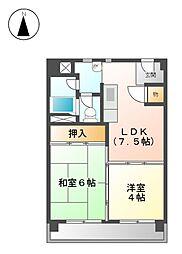 上飯田第2 2号棟[4階]の間取り