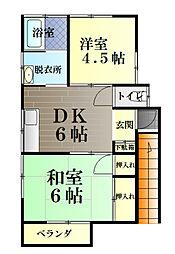 秋山荘[2号室]の間取り