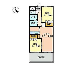 福岡県北九州市八幡西区馬場山原の賃貸アパートの間取り