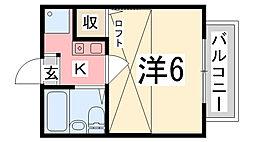 兵庫県明石市大観町の賃貸アパートの間取り