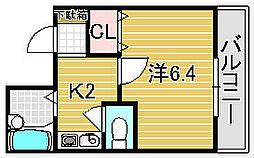 大阪府吹田市元町の賃貸マンションの間取り