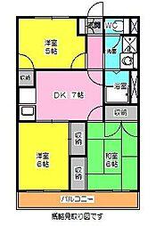 神奈川県横浜市港南区日限山1丁目の賃貸アパートの間取り