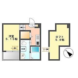 ガンマ大野木[1階]の間取り
