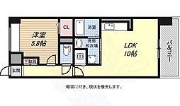 JR山陽本線 和田岬駅 徒歩8分の賃貸マンション 2階1LDKの間取り