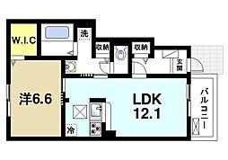 JR桜井線 櫟本駅 徒歩10分の賃貸アパート 1階1LDKの間取り