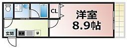 レクラン深江南 7階1Kの間取り