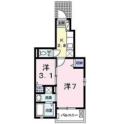 埼玉県東松山市箭弓町2丁目の賃貸アパートの間取り