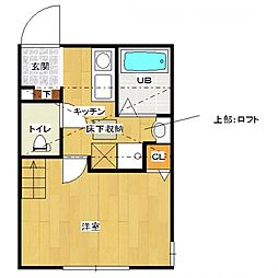 神奈川県相模原市南区北里1の賃貸アパートの間取り