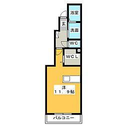 メゾン華V 1階ワンルームの間取り