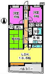 福岡県福岡市早良区田村7丁目の賃貸マンションの間取り