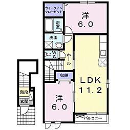 しなの鉄道 御代田駅 徒歩28分の賃貸アパート 2階2LDKの間取り