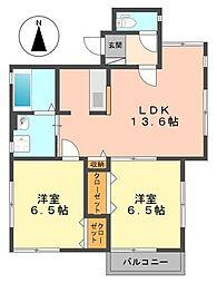 東京都葛飾区奥戸7丁目の賃貸アパートの間取り