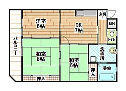 福岡県北九州市小倉北区木町1丁目の賃貸マンションの間取り