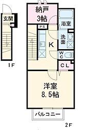 アムール藤沢遠藤[201号室]の間取り