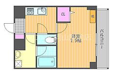 JR宇野線 大元駅 徒歩7分の賃貸マンション 3階1Kの間取り
