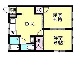コーポカサハラ 1階2DKの間取り