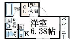 JR東海道・山陽本線 住吉駅 徒歩9分の賃貸アパート 2階ワンルームの間取り