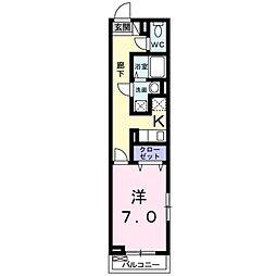 JR東海道本線 藤沢駅 徒歩15分の賃貸アパート 2階1Kの間取り