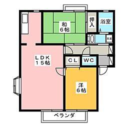 パインフォレストB[2階]の間取り