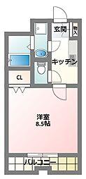 大阪府寝屋川市初町の賃貸マンションの間取り