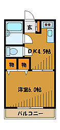東京都国立市東の賃貸マンションの間取り