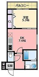 阪神本線 武庫川駅 徒歩11分の賃貸アパート 2階1DKの間取り