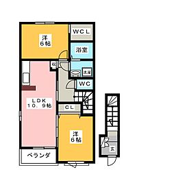 メゾン・斎宮A 2階2LDKの間取り