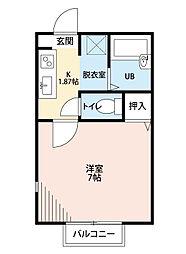 福岡県北九州市小倉北区高坊2丁目の賃貸アパートの間取り