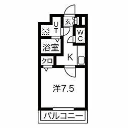 名古屋市営東山線 中村日赤駅 徒歩5分の賃貸マンション 5階1Kの間取り