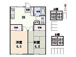 キャッスルハイツ B[2階]の間取り