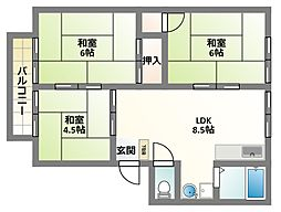 大阪府四條畷市北出町の賃貸アパートの間取り