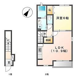 岡山県倉敷市連島5の賃貸アパートの間取り