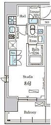 東京メトロ有楽町線 新富町駅 徒歩6分の賃貸マンション 2階ワンルームの間取り