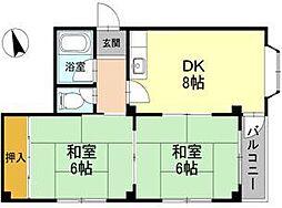 大阪府堺市堺区北庄町1丁の賃貸アパートの間取り