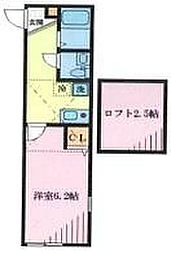 JR南武線 武蔵小杉駅 徒歩16分の賃貸アパート 1階1Kの間取り