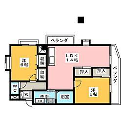 リーベ中柳[4階]の間取り