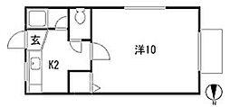 栃木県宇都宮市塙田4丁目の賃貸アパートの間取り