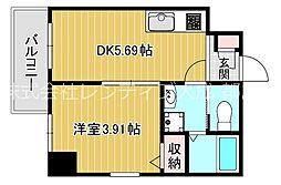 JR大阪環状線 桜ノ宮駅 徒歩10分の賃貸マンション 1階1DKの間取り