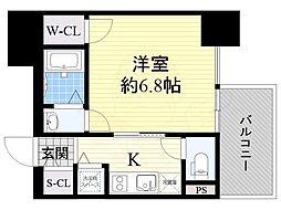 近鉄大阪線 大阪上本町駅 徒歩5分の賃貸マンション 7階1Kの間取り
