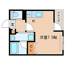 JR東海道本線 静岡駅 徒歩17分の賃貸マンション 1階ワンルームの間取り