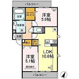 JR豊肥本線 竜田口駅 4.4kmの賃貸アパート 2階2LDKの間取り