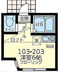神奈川県川崎市幸区紺屋町の賃貸アパートの間取り
