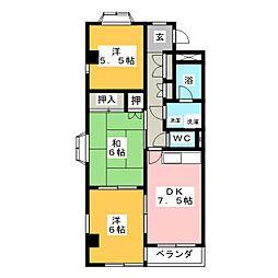 グランドヒルズ一番館A[4階]の間取り