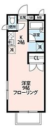 東京都目黒区柿の木坂2丁目の賃貸アパートの間取り