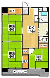 栗木第2ビル[6階]の間取り