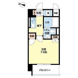 仙台市地下鉄東西線 大町西公園駅 徒歩6分の賃貸マンション 9階1Kの間取り