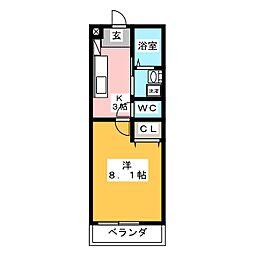 シャトウ清栄[3階]の間取り