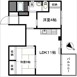 東京都港区芝4丁目の賃貸マンションの間取り