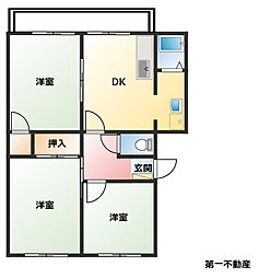 兵庫県西脇市西脇の賃貸アパートの間取り
