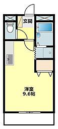 愛知県岡崎市洞町字西丸根の賃貸アパートの間取り